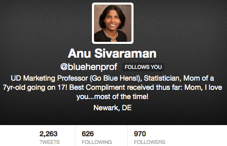 Prof. Anu Sivaraman is @BlueHenProf!