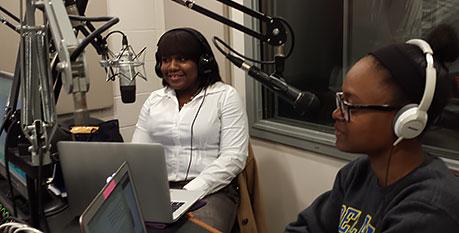 Prof. Jessica Edwards (l), and Kayla Baptisite, A&S '17 (r)