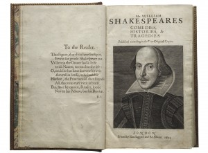 First Folio title page showing Martin Droeshout portrait of Shakespeare (Martin Droeshout. Shakespeare. Engraving, 1623. Folger Shakespeare Library)