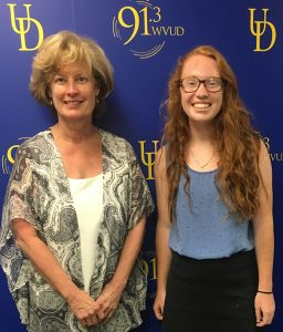 Provost Robin Morgan (l) and Ally Delaney, A&S '19, (r) after completing their WVUD conversation.