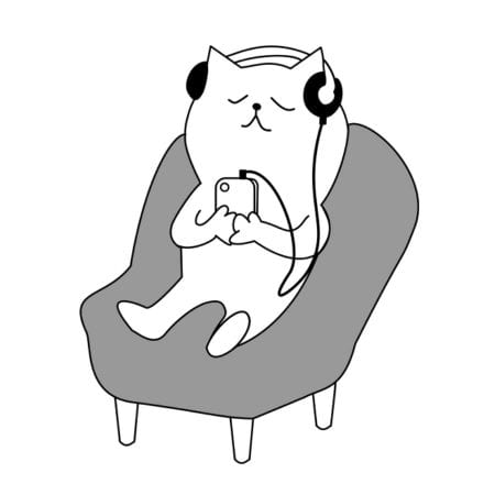 cartoon cat seated with eyes closed clutching a phone and wearing headphones