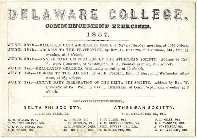 Schedule of events for Delaware College Commencement Exercises from June 28 - July 1, 1857.