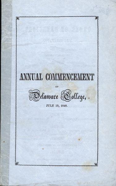 Delaware Commencement Program 1848