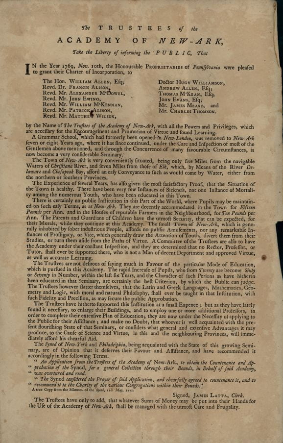 Advertisement for Subscriptions - 1772