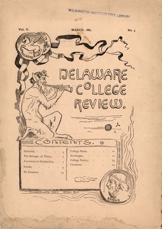 Front cover of Delaware College Review from March, 1887.