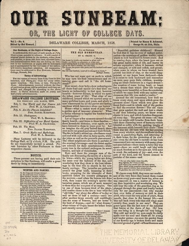 First page of Our Sunbeam from March, 1856.