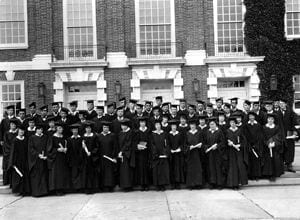 The graduating class of the University of Delaware in 1924. Degree recipients from the Women's College of Delaware stand in the front two rows.