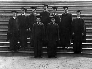 The graduating class of 1907 is one of the earliest commencement-related photographs at the University Archives. This photograph was taken on the steps of Old College, which was the first college facility and the principal building of Delaware College.