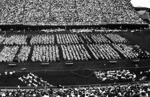 A large crowd watched the University of Delaware commencement of 1981 in Delaware Stadium