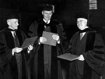 Three of the recipients of honorary degrees awarded by the University of Delaware during commencement in 1950. Pictured here from left to right are Richard Seymour Rodney, William Samuel Carlson (the commencement speaker and former President of the University), and William Watson Harrington.