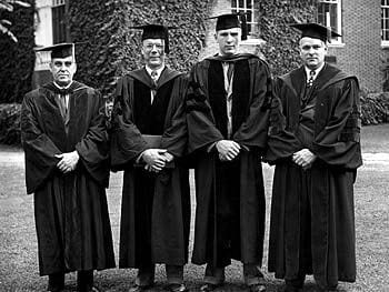 The first recipients of Ph.D. degrees in Chemistry from the University of Delaware at the 1948 commencement. Pictured here from left to right are Cecil Lynch, Associate Professor of Chemistry, graduates Richard H. Gale and H. Anthony Neidig, and William A. Mosher, Professor of Chemistry.