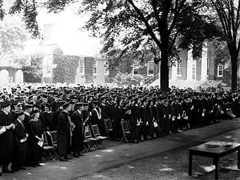 The graduates assembled on the North Green in front of Memorial Hall during the University of Delaware commencement of 1948.