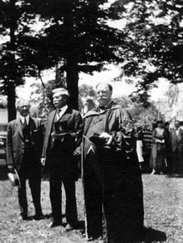William Howard Taft, President of the United States from 1909-1913, spoke at the 1918 commencement ceremonies for Delaware College. He is pictured here on the right, accompanied by Delaware governor John G. Townsend (center) and Josiah Marvel (left).