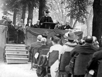 William Bassett Moore, a distinguished diplomat and legal scholar, gave the commencement speech at the 1916 commencement for Delaware College. Seated immediately behind him is Samuel Chiles Mitchell, the President of Delaware College.