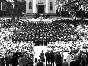 Graduates listen to the University of Delaware band during the 1951 commencement.