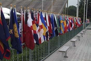 Flags arrayed at Delaware Stadium for the Spring 2003 commencement.