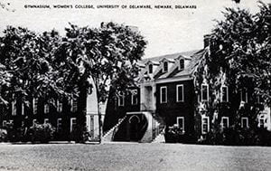 Photograph of Hartshorn Hall, the gymnasium of the Women's College of Delaware. Taken looking east. Circa 1930.