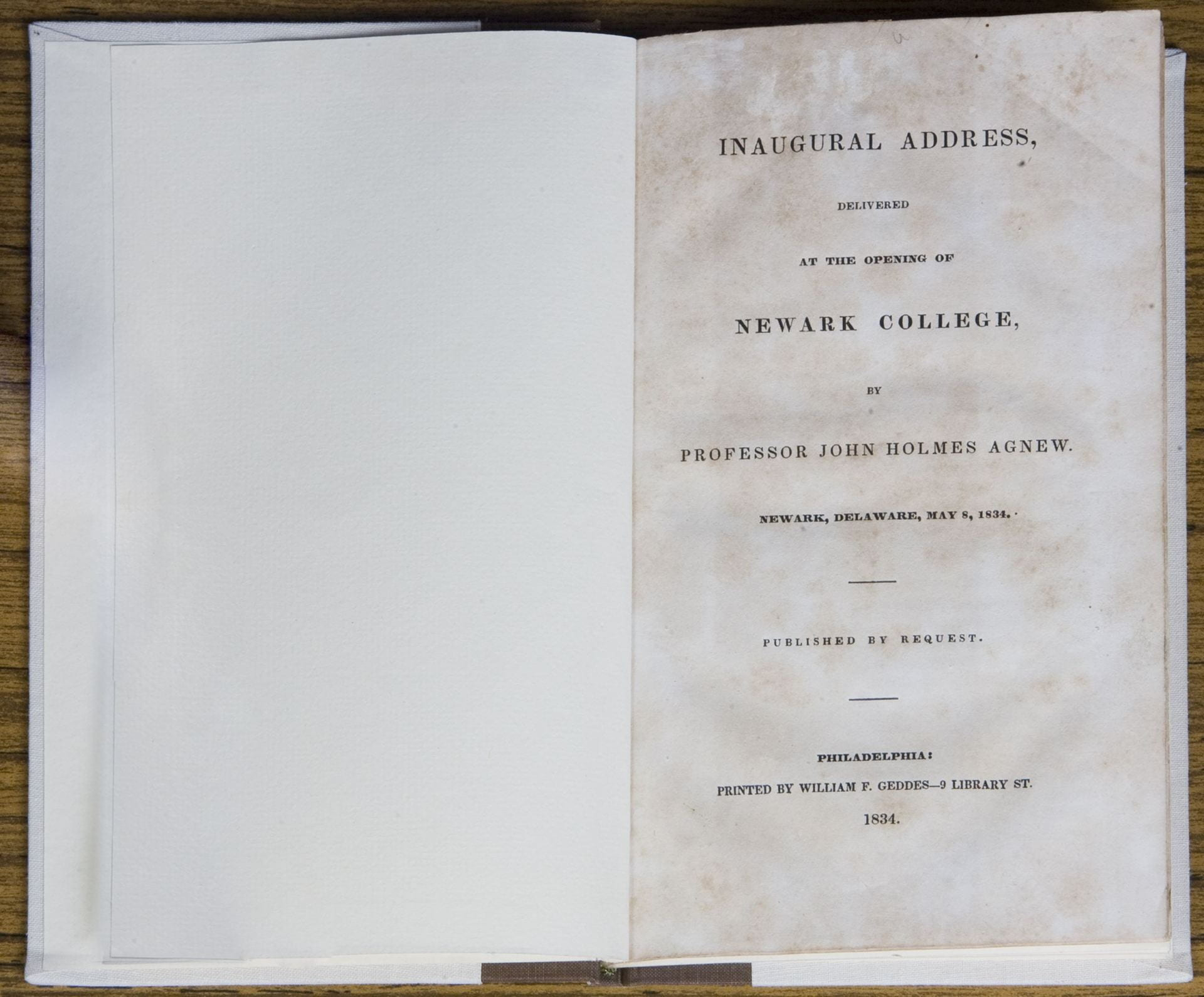Cover page of the Inaugural Address delivered at the opening of Newark College in 1834.