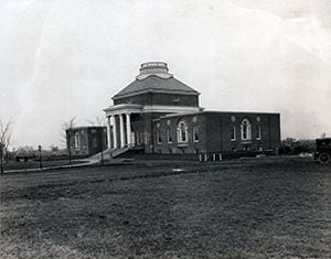Photograph of then-newly constructed Memorial Hall, looking East by South East. Circa 1925.