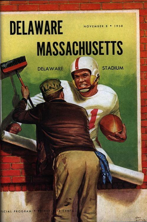 Cover of the official football program for the University of Delaware vs. University of Massachusetts game on November 8, 1958.