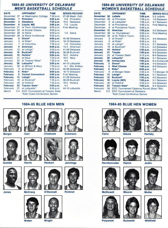 1984-85 University of Delaware Men's and Women's Basketball Schedules