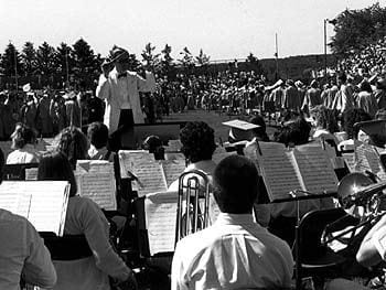 The University of Delaware Band plays for commencement in 1989