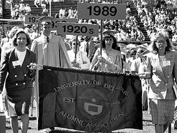 The Alumni Association of the University of Delaware leads a procession during commencement in 1989
