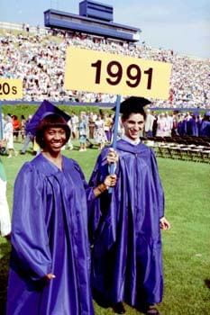 Members of the class of 1991 enter Delaware Stadium for the commencement ceremonies.