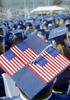 A patriotic display decorates the cap of a graduate of the class of 2002 at commencement.
