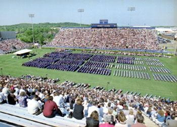 Delaware Stadium fills up on a beautiful May morning for the Spring 2002 commencement.
