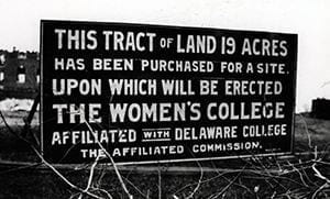 Photograph of a sign for land of Women's College.