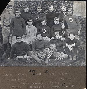 Posed photograph of the University of Delaware Football team. Back row, left to right: Constable, Cooper, R. Wolf, Short, Cooch. 2nd row, left to right: W. Harrington, Sipple, Salmons, Pierce, Wilson. 1st row, left to right: Mullin, C. Harrington, Raybold, F. Bartlett. Circa 1894.