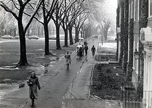 Photograph of the west side of the Green. The image features Brown Hall in foreground and Memorial Library in the far center. Circa 1960.