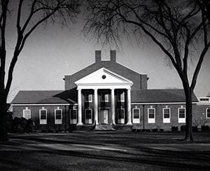 Photograph of Du Pont Hall after its first renovation was completed; taken from the Green, looking east. 1961.