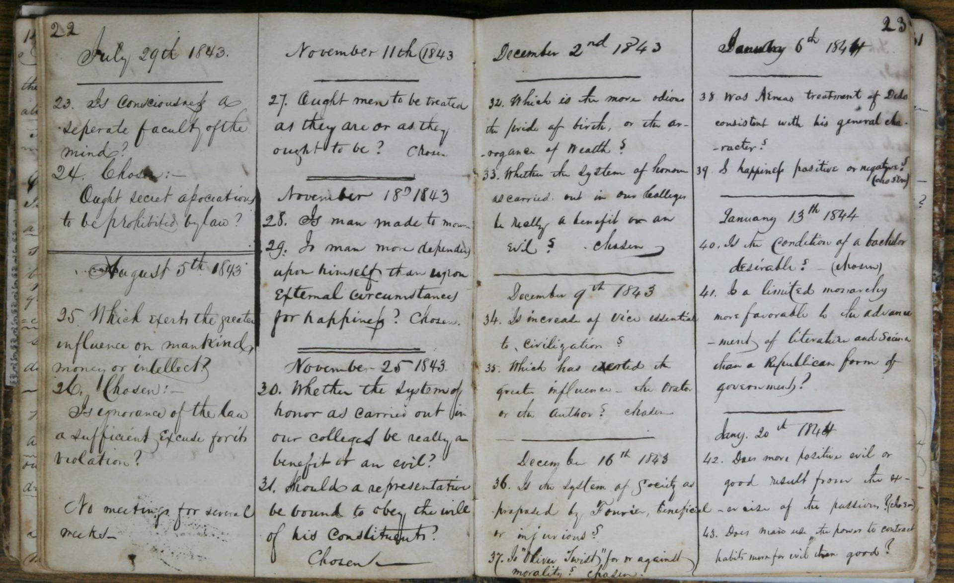 Athenaen Literary Society debating questions book - 1837 -1848