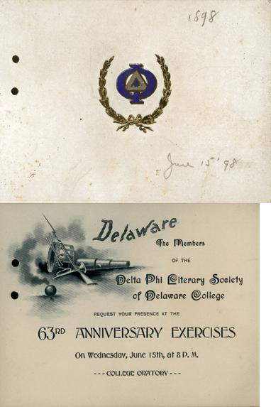 Front cover and first page of the Delta Phi Literary Society 63rd Anniversary Exercises from June 15, 1898.