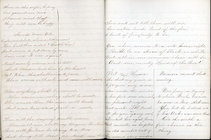 """Two pages from Pestalozzi """"No-Name"""" from January, 1882."""