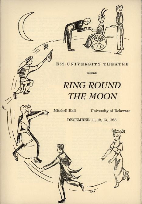 Cover of Ring Round the Moon E-52 Student Theatre Program from December 11-13, 1958.