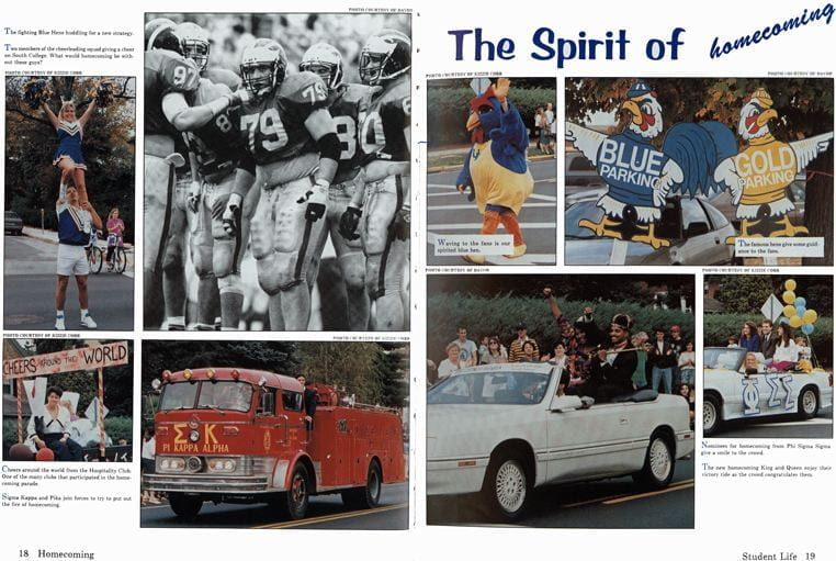 Photos of homecoming activities from the 1992 Blue Hen.