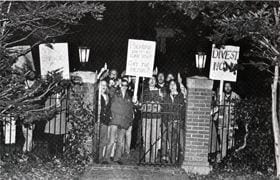 Student protesters outside the President's House from the 1980 yearbook.
