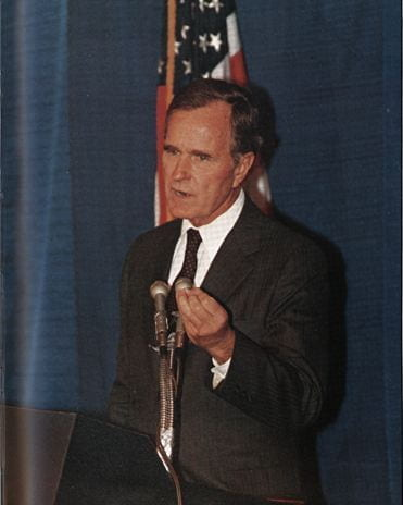 Vice President George H. W. Bush at a press conference in Clayton Hall.
