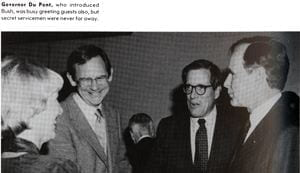 "Lieutenant Governor Mike Castle, Governor Pierre S. ""Pete"" Du Pont, and Vice President George H. W. Bush"