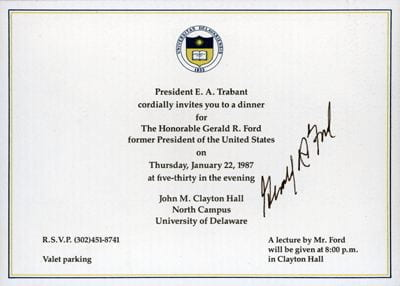 Autographed invitation to dinner with former President Gerald R. Ford.