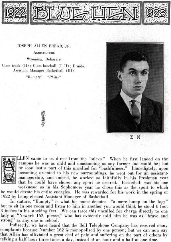 J. Allen Frear, Jr. from the 1922 - 1924 yearbook.