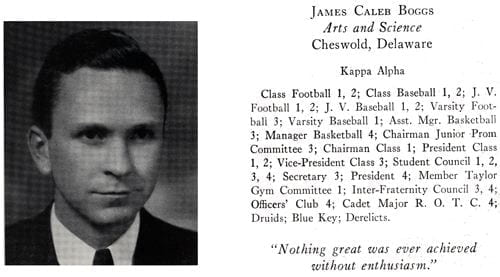James Caleb Boggs from the 1931 - 1932 yearbook.