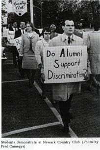 Demonstration by Students for a Democratic Society at Newark Country Club from the 1967 yearbook.
