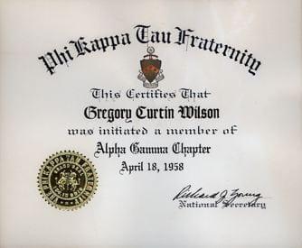 Phi Kappa Tau Certificate for Gregory Curtin Wilson, April 1958