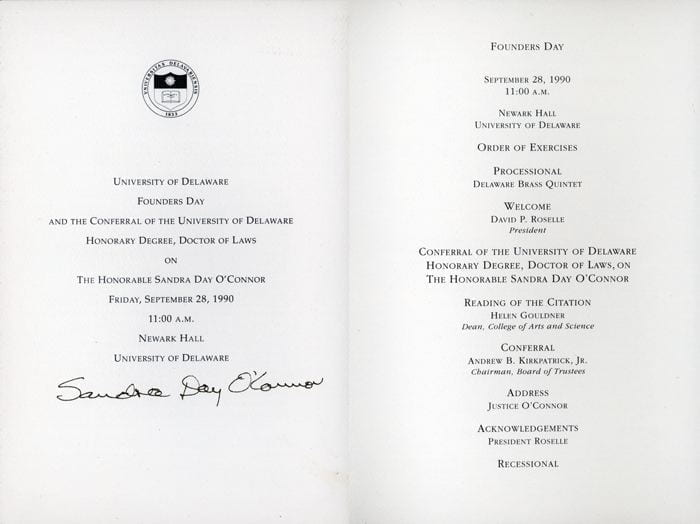 Autographed program for the conferral of honorary doctor of laws on Sandra Day O'Connor on September 28, 1990.