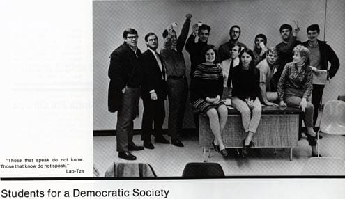 Students for a Democratic Society members from the 1968 yearbook.