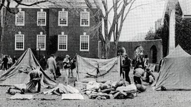 Tent City created by protesters on The Green from the 1968 yearbook.